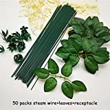 Nice purchase Fake Artificial Flower Stems Wire With Leaves Accessory Branch for Floral Craft DIY Handmade Home Wedding Party Decoration (B)