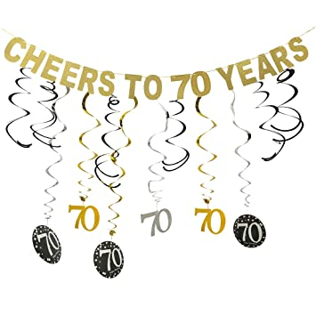 Gold 70th Birthday Party Decorations Kit