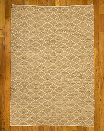 NaturalAreaRugs Cabos Cotton Jute Area Rug, Handmade, 55 Percent Cotton and 45 Percent Jute, Anti-Static, Durable, Elegant, Stain Resistant, 6' x 9' Beige