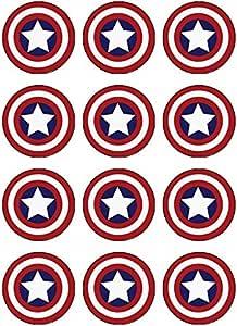 Marvel Legends Captain America themed edible SHIELD NAME AGE STARS cake topper