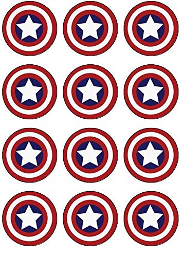 photo regarding Captain America Printable named 12 EDIBLE Captain The united states Cupcake Toppers- Captain The usa cupcakes, Captain The us Birthday Get together. This sort of are edible!