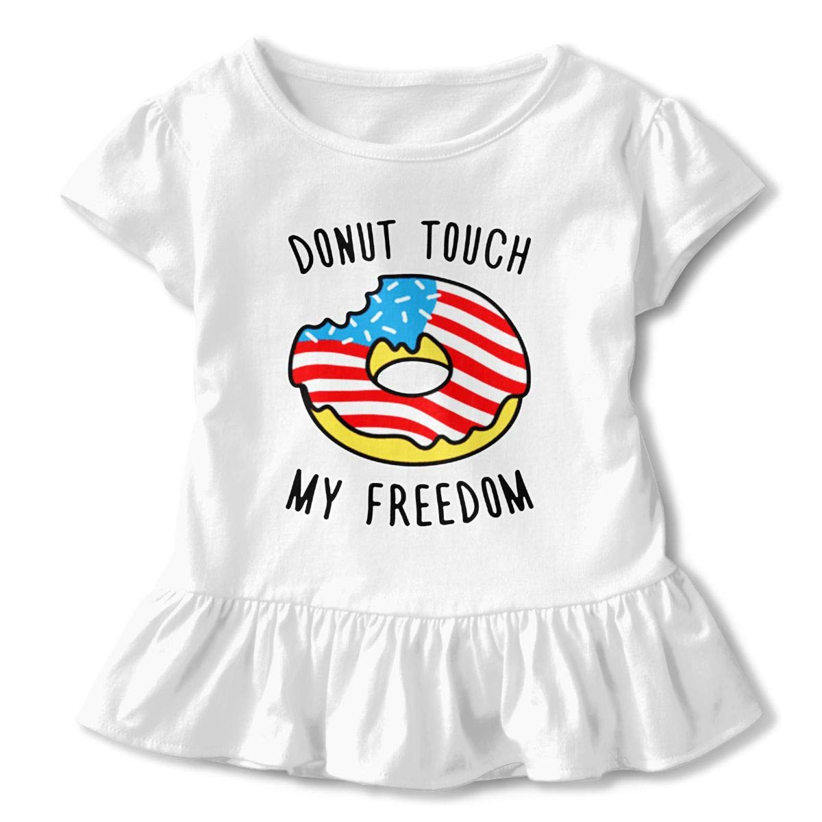 Donut Touch My Freedom Baby Girls Cozy Ruffle Top T-Shirt Flounces Dress Toddler Girls Summer Tops