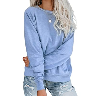 Actloe Women Crewneck Long Sleeve Solid Top Casual Sweatshirt Pullovers: Clothing