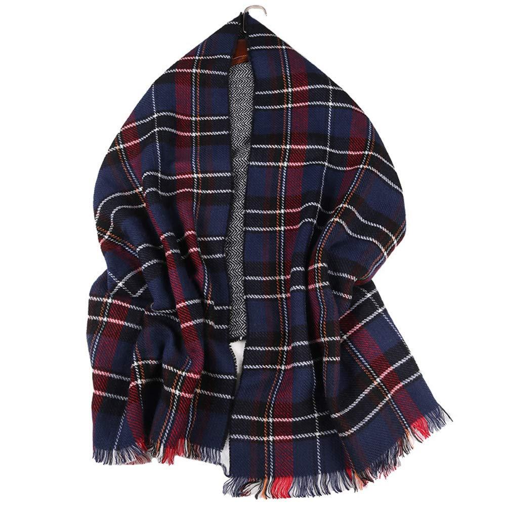 AiNaMei Damas e invierno bufanda de doble cara cálida engrosamiento imitación mantón de cachemira
