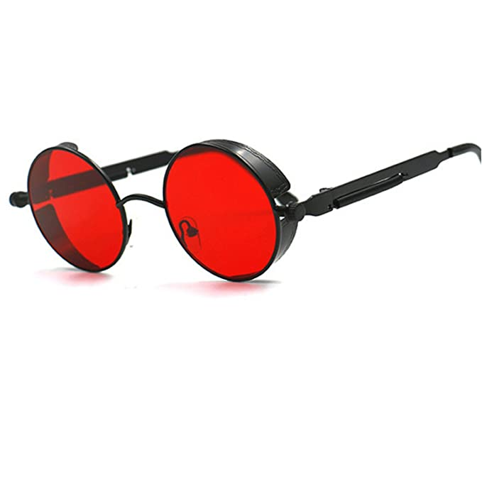 Amazon.com: coocol Metal redondo Steampunk anteojos de sol ...