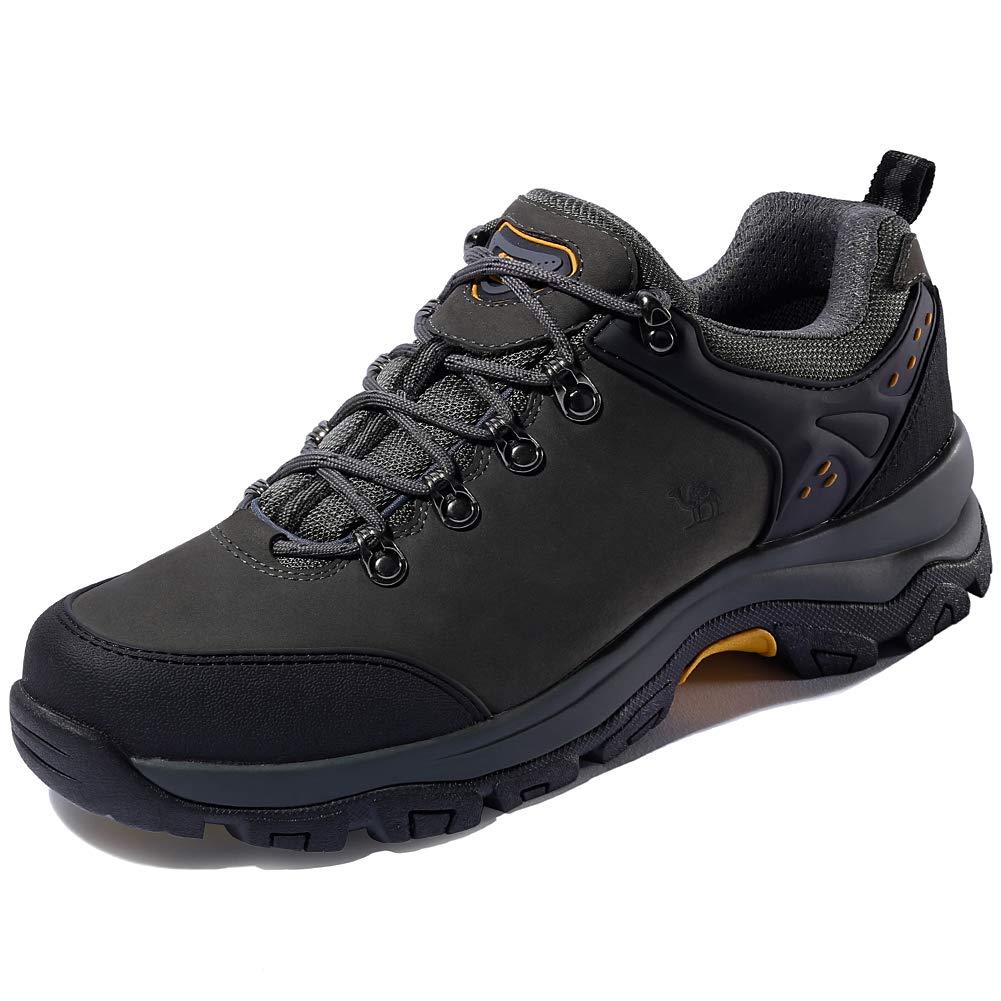 CAMEL CROWN Hiking Shoes Men Trekking Shoe Low Top Outdoor Walking Waterproof Leather Trail Sneakers (Grey, 9.5 D(M) US)