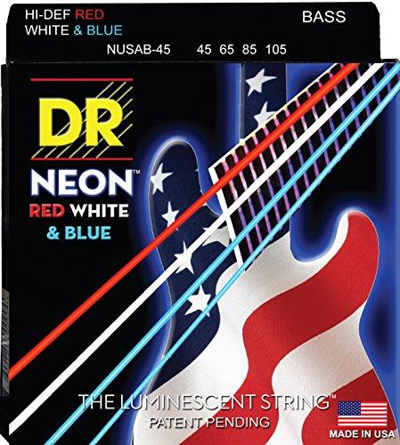 DR Strings NUSAB-45 Coated Nickel 4-String Bass Guitar Strings, Medium, 45-105, Neon Red/White/Blue