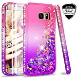 LeYi Galaxy S7 Edge Case with PET Screen Protector [2 pack], Girl Women 3D Glitter Liquid Cute Personalised Clear Transparent Silicone Gel TPU Shockproof Phone Cover for Samsung S7 Edge Pink Purple