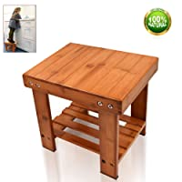 Bamboo Step Stool for Kids Adults Children Small Size Toddlers Seat Storage Shelf Bench for Bathroom Kitchen RV Living Room Bedroom Durable Anti-Slip Lightweight Muti Purpose Women and Adults
