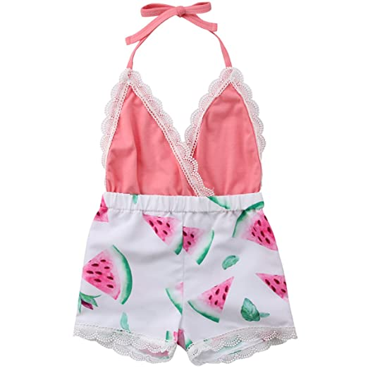 6e3c6f46b59 Baby Girls Halter One-Pieces Lace Romper Jumpsuit Watermelon Sunsuit Outfit  Clothes (Pink