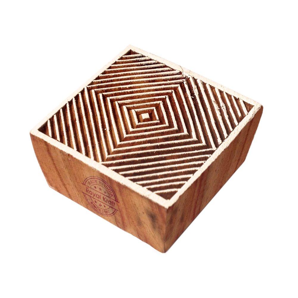 Royal Kraft Fatto Mano Quadrato Geometrico Designs Legno Stampa Timbro THCtag002