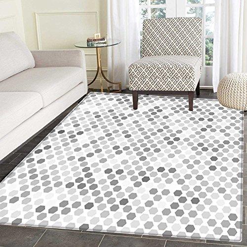 Grey Area Mat Carpet Abstract Zig Zag Hexagon Figures Vivid and Dark Color Hue Tone Intensity Blush Art Print Living Dinning Room and Bedroom Mats 3'x4' White ()