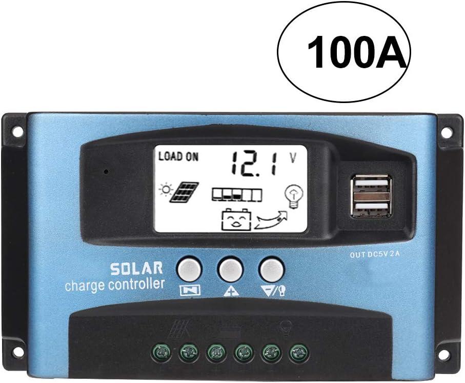 Controlador de carga solar, protección contra sobrecarga Parámetros ajustables bidireccionales Protección de conexión inversa Cargador de batería solar MPPT, para automóvil, automóvil(100A, Blue)