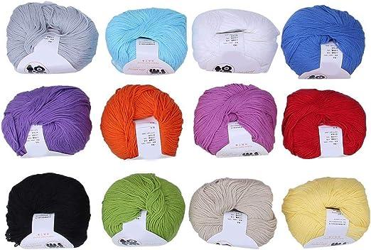Hilo acrílico, 12 Colores Suave y cálido Hilo para bebés Tejido de Punto Crochet Hilo de