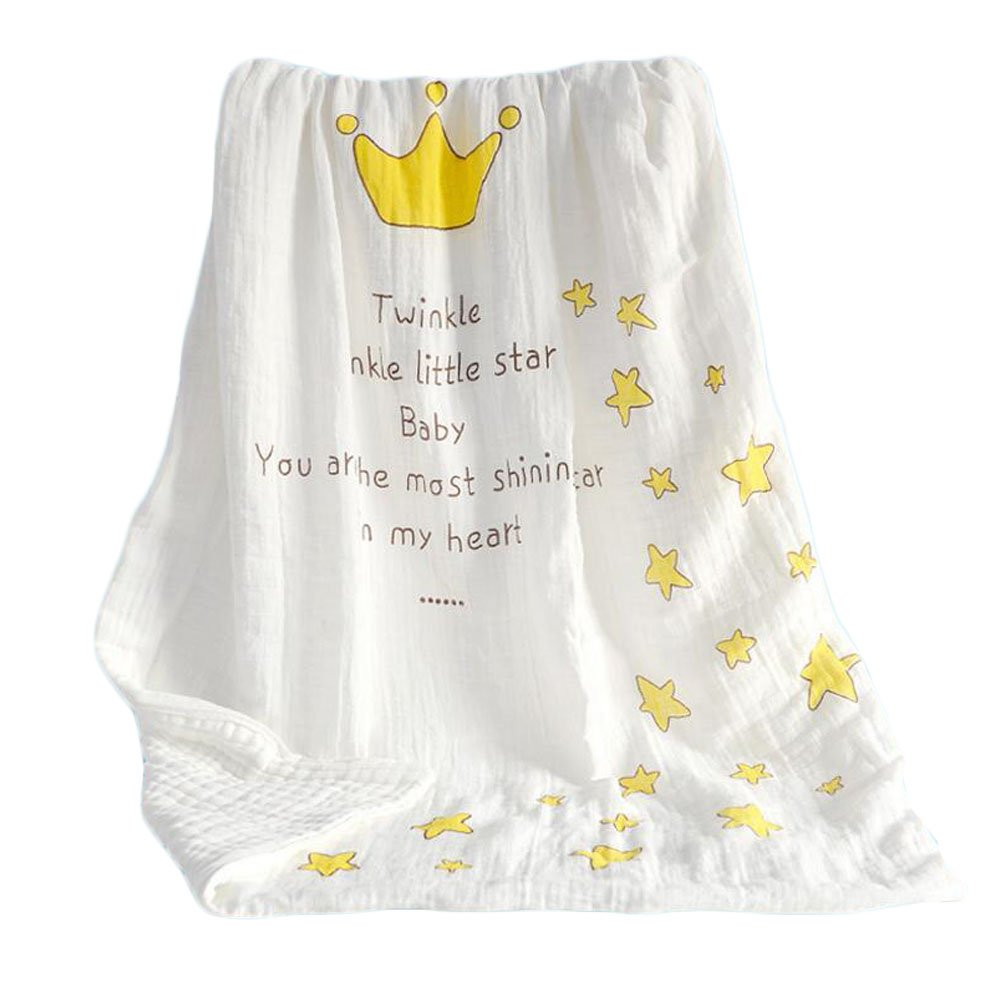 BWinka Extra large 112x112 Muslin Baby Bath Towels Lovely Crown Print Super Soft Comfortable Newborn Infant Baby Bath Towels Also for Baby Blanket