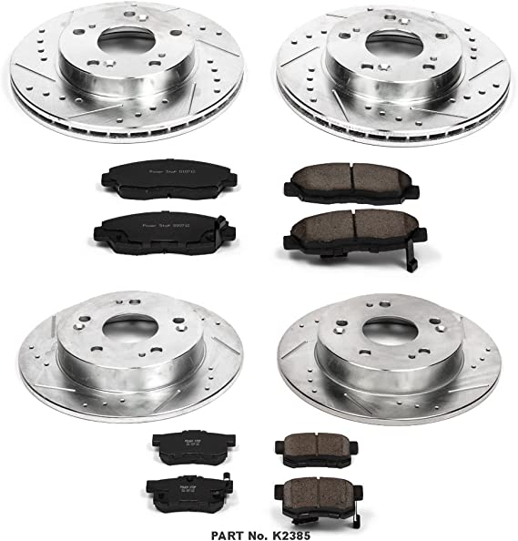 Power Stop K796 Front Z23 Evolution Brake Kit with Drilled//Slotted Rotors and Ceramic Brake Pads