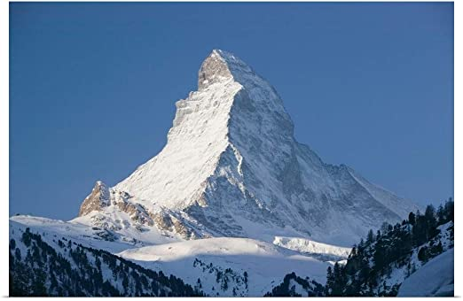 Picture Poster Snow Mountain Art Mount Matterhorn Switzerland Framed Print
