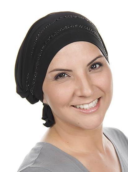 9eb0a2deb16 Turban Plus Abbey Cap Womens Chemo Hat Rhinestone Black with Jet Black  Crystal Double Trim
