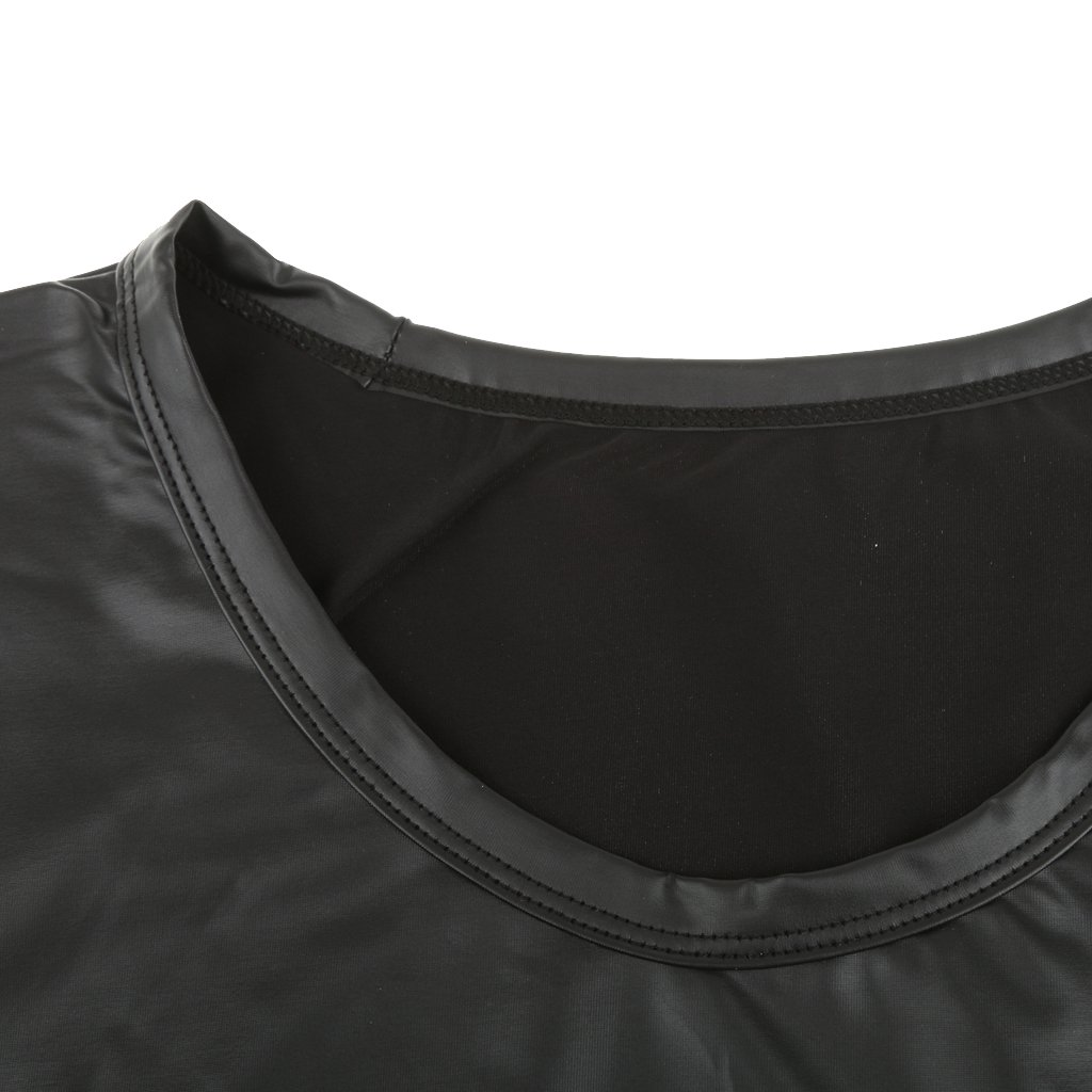 MagiDeal Uomo Moda Senza Maniche T-shirt Gilet Canotte Top In Pu Pelle Sportivi