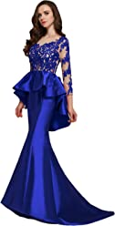 d77343e4219e Butmoon Women's Long Sleeve Mermaid Prom Dress Lace Open Back Peplum  Evening Gowns