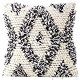 Eyes of India - 20'' Black White Woven Tufted Tassel Cushion Cover Fringe Sofa Couch Throw Bohemian Indian Embroidered PillowCover Only