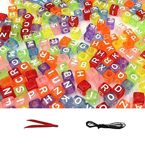 A Little Lemon 500pcs Mixed Multicolor Acrylic Plastic Alphabet Beads, Assorted Translucent Color Alphabet Letter
