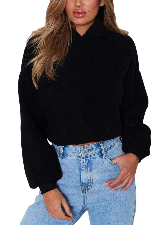 Asvivid Womens Fuzzy Oversized Hoodies Fleece Cropped Pullover Sweatshirt Tops Ladies Jacket Coat Outwear S Black