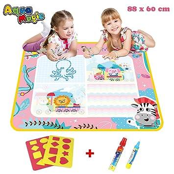 PUZ Toy Juegos para Niños de 2-3 años Aqua Magica Doodle Princesa 88*60cm Pinturas para Niña Bebe Pizarra Niños Pintar con Agua Rosa con 2 Plumas ...