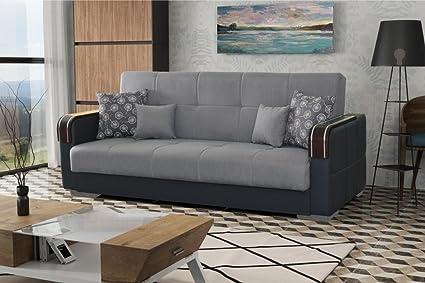 Mirella tamaño grande funda de piel sintética y tela sofá cama sofá ...