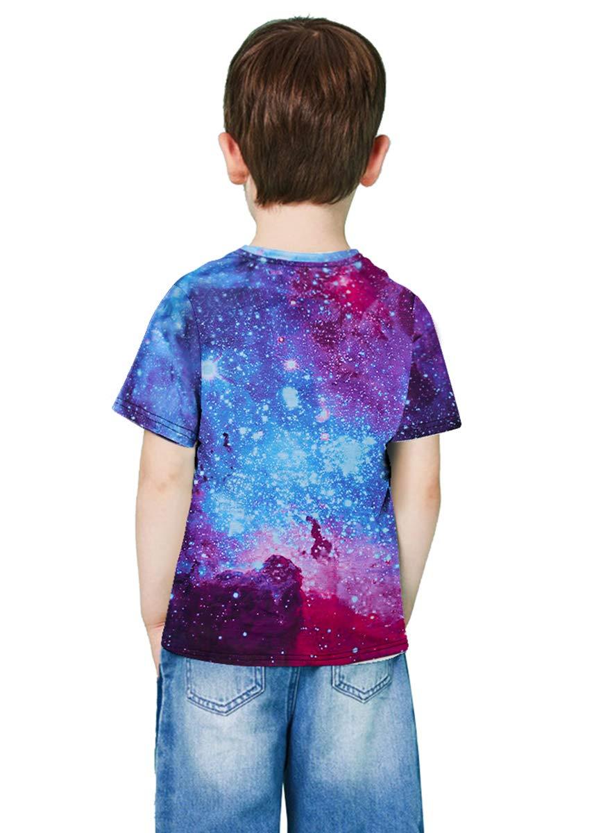 RAISEVERN3D Graphic Stampato T Shirt per 15-16 Ragazzi Ragazze Estate Colorato Nebulosa Casual Manica Corta Tshirt 140