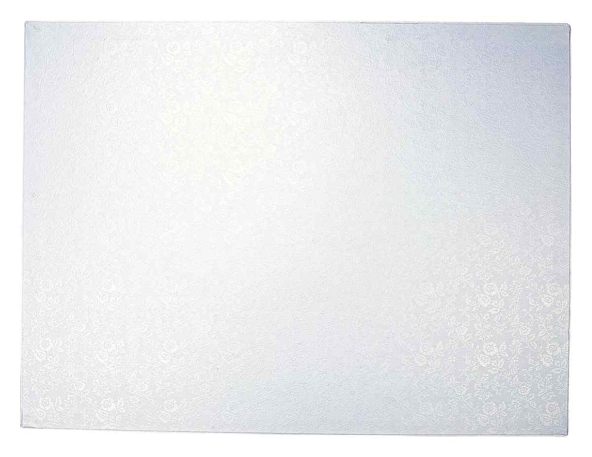 Städter 900042Cake Board, plat à gâteau rectangulaire plateau à gâteau, plastique, blanc, 40x 30x 2cm,