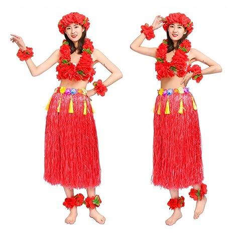 FAMLYJK Falda elástica Hawaiana para Mujer, Luau Hula, 80 cm ...