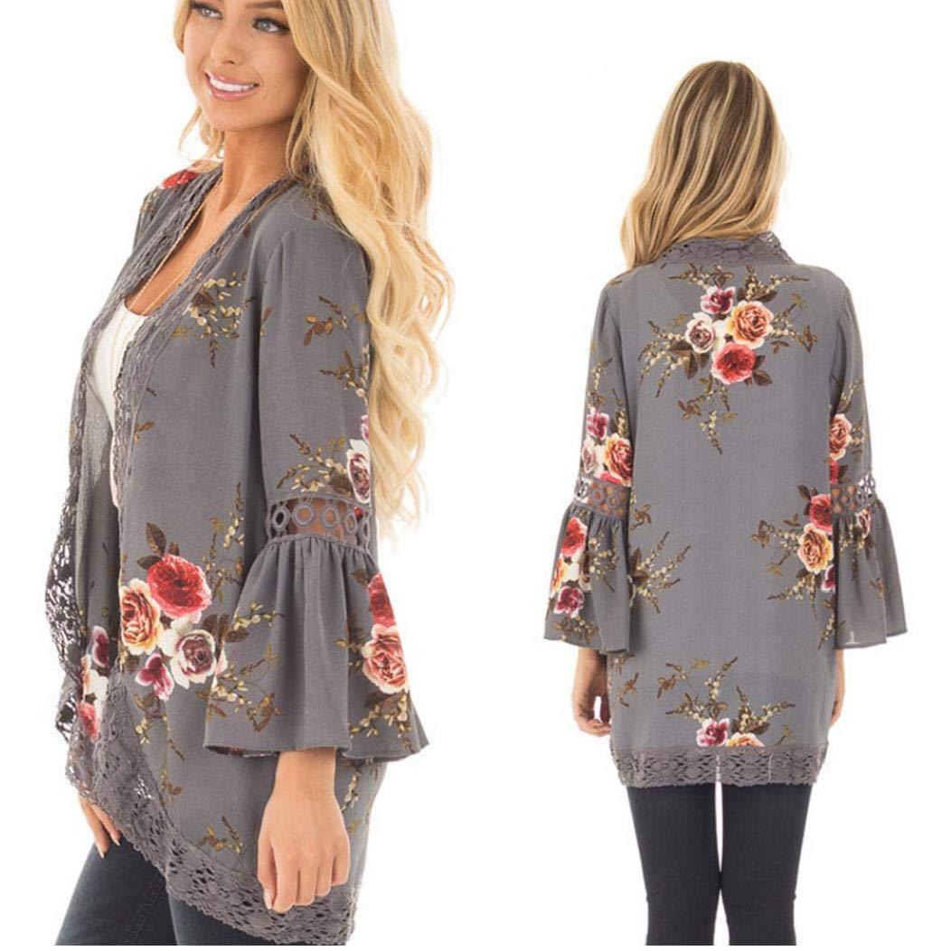 Donna Fiore Lace Etnica allentato Kimono Cardigan Jacket Kimono Cardigan con dettagli in pizzo puro grigio Creative Design