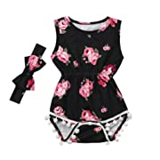 Toraway Toddler Infant Baby Romper Outfits 2Pcs/Set Baby Girls Floral Tassel Sleeveless Romper Jumpsuit + Headband Clothes Outfits Set (Black, 70/0-6 Months)