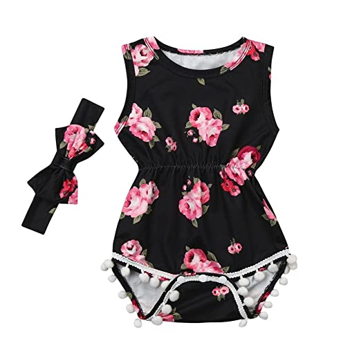 4d4aded68b1b Amazon.com  Toraway Toddler Romper Outfits 2Pcs Set Baby Girls Floral  Tassel Sleeveless Romper Jumpsuit + Headband Clothes Outfits Set  Clothing