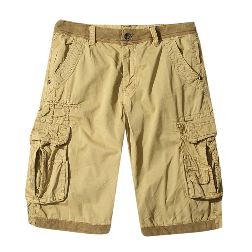 Men's Baggy Cargo Shorts Casual SOID Breathable Trousers Sim Fit Lightweight Beach Pants Muti Pockets