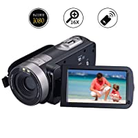 Camcorder Video Camera Full HD 1080p 24.0MP Digital Camera 3.0 Inch 270 Degree Rotatable Screen Vlogging Camera Pause Function