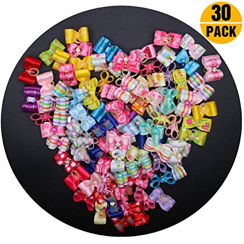 YOY 30 Pcs Adorable Grosgrain Ribbon Pet Dog Hair Bows with Elastics Ties - Stretchy Rubber Bands Doggy Kitty Topknot Grooming Accessories Set for Long Hair Puppy Cat by YOY
