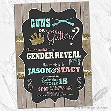 Guns Or Glitter Gender Reveal Invitations Set Of 10 Personalized
