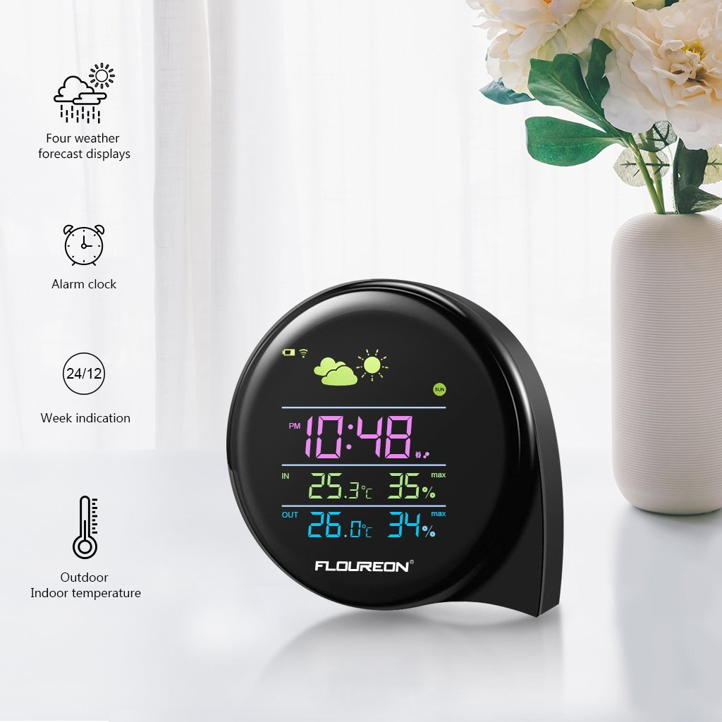 FLOUREON Wireless Weather Station Digital Hygrometer Thermometer Temperature Monitor Humidity Indoor Outdoor Wireless Station Forecast Alarm Clock