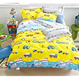 Cliab Cars Airplanes Motorcycle Train Construction Vehicles Truck Excavator Police Car Submarine Hot Air Balloon and More Kids Boys Girls Yellow Bedding Queen Size Duvet Cover Set 100% Cotton 7 Pieces
