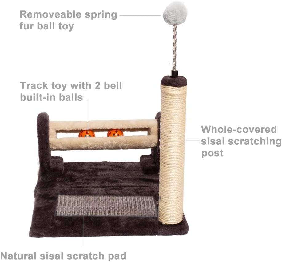 PGFUN Cat Scratching Post 3 in 1 Natural Sisal Scratch Post /& Pad Cat Ball Toys Scratcher for Cats and Kittens
