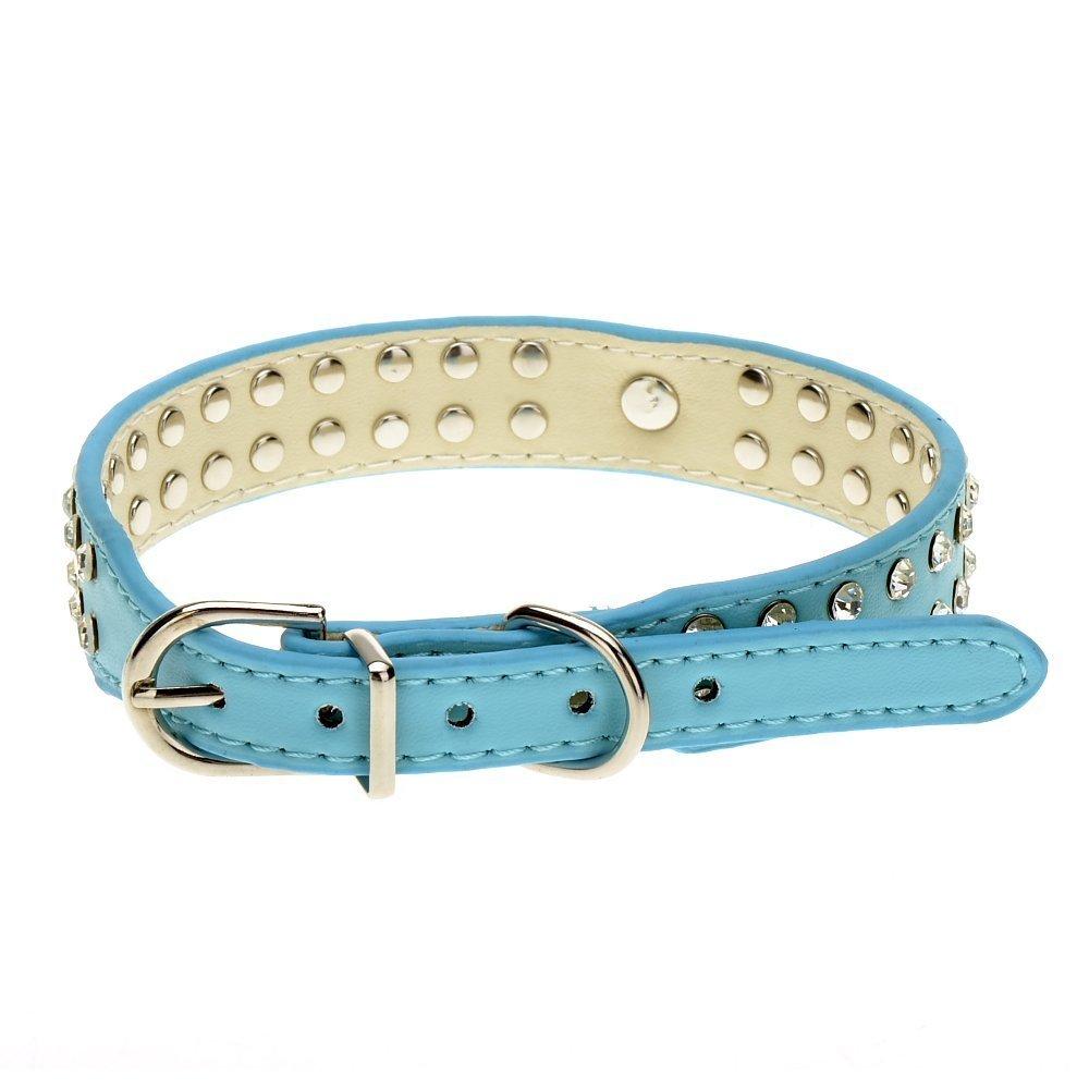 di piccola o media taglia in pelle borchiata con due file di strass e un cuore Hiumi Collare per cane