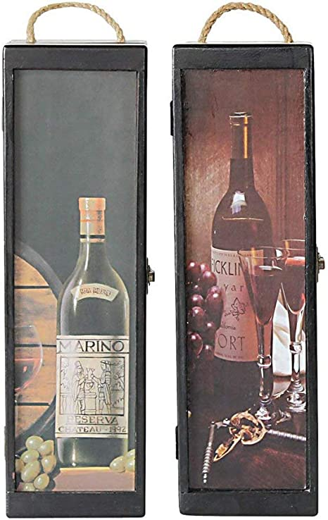 Antique Single Bottle Wooden Wine Gift Box with Handle Birthday Party Gift