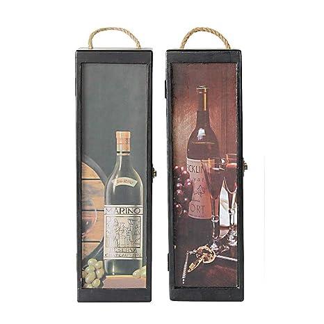 Amazon Com 2 Set Wood Wine Box Carrying Case Single Wine Bottle