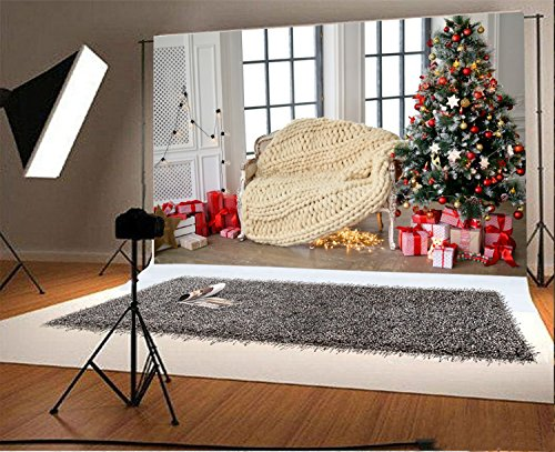 Christmas Photography Backdrops HD Vinyl Background Paper Photo Studio Props No Creases (7×5 ft, Christmas tree) (Tree For Christmas Animated Desktop)