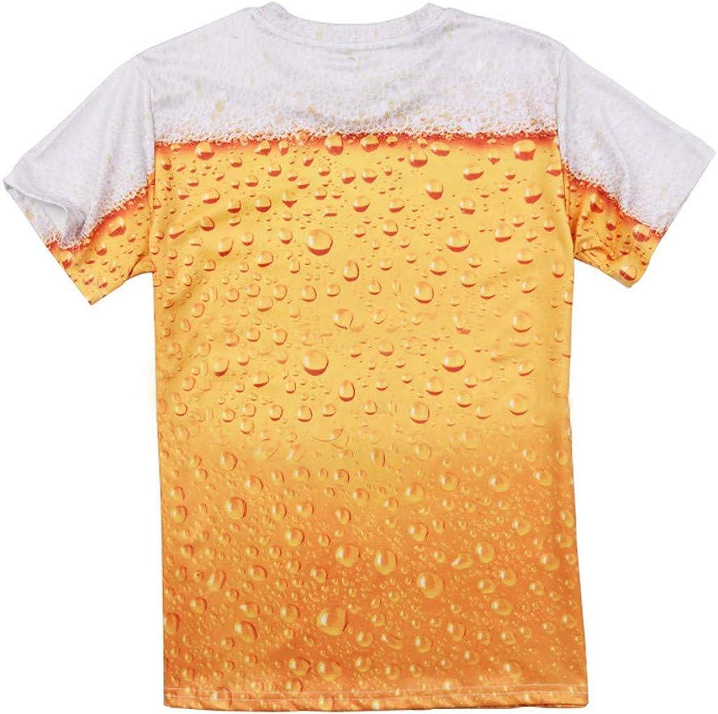Camisetas Impresi/ón de Cerveza Manga Corta Hombre Gusspower Camisas De Cuello Redondo con Estampado De 3D Originales Camisetas Slim Divertidas Casuales Personalidad Verano