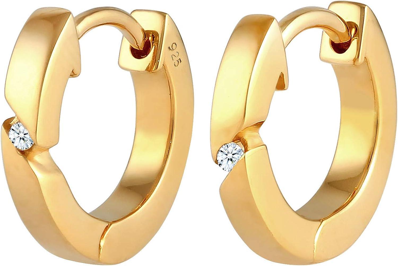 DIAMORE - Pendientes de aro para mujer con diamante (0,04 ct) en plata de ley 925