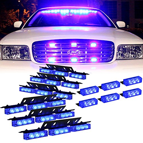 DT MOTOTM Blue 54x LED Volunteer Vehicle Dash Grill Deck Strobe Warning Lights - 1 - Blue Strobe