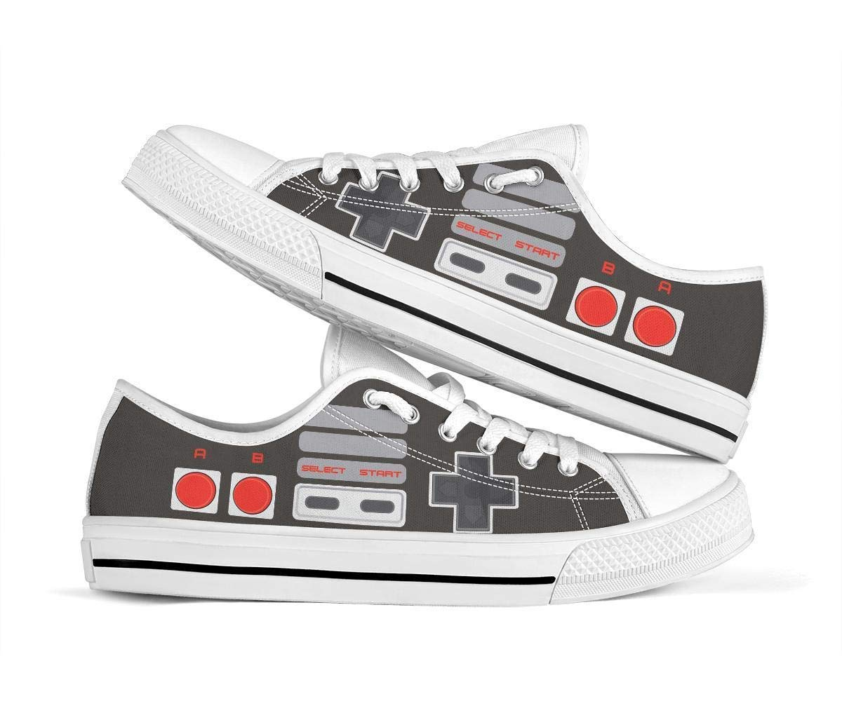 NES Controller Shoes Low Tops for Women Men Merch Merchandise Canvas Casual Costume Clown Shoe Back to School Boys Girls Youth Teen Mens Womens Christmas Halloween Birthday Collectable Gift Collectible Collectibles Gifts